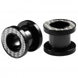 2pc 0g Gauge 316L Surgical Steel Flesh Tunnels Reflective Lobe Stretcher Plugs Ear Stretching Expander