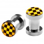 2pc 4g Gauge 316L Surgical Steel Flesh Tunnels Cross Checkered Black & Yellow Lobe Stretcher Plugs Ear Stretching Expander