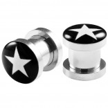 2pc 0g Gauge 316L Surgical Steel Flesh Tunnels White Star Lobe Stretcher Plugs Ear Stretching Expander