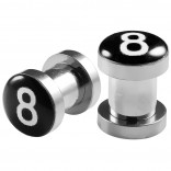 2pc 2g Gauge 316L Surgical Steel Flesh Tunnels 8 Ball Lobe Stretcher Plugs Ear Stretching Expander
