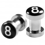 2pc 4g Gauge 316L Surgical Steel Flesh Tunnels 8 Ball Lobe Stretcher Plugs Ear Stretching Expander