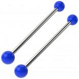 2pc Blue Industrial Barbell 14g Cartilage Earrings Piercing Jewelry 38mm Bar Fancy Acrylic Balls