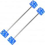2pc 14g Industrial Barbell Dice 35mm 1 3/8 Cartilage Earrings Piercing Bar Gauge Jewelry Piercing