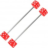 2pc 14g Dice Industrial Barbell Bars 35mm Red Colored Cartilage Earring Gauge 1 3/8 Piercing Jewelry