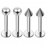 4pc 16g Labret Studs Surgical Stainless Steel Spike Lip Rings Set 14 Guage Piercing Jewelry 10mm 3/8