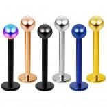 6pcs 14g Labret Studs Lip Ring Piercing Jewelry 4mm Ball Rose Black Rainbow Gold Blue Jewelry 10mm