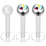2pc 16g Bioplast Labret Stud Earrings 3mm AB Gem CZ Tragus Piercing Jewelry 8mm + Clear Retainer