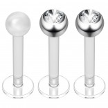 2pc 16g Bioplast Labret Stud Earrings 3mm Swarovksi CZ Tragus Piercing Jewelry 8mm + Clear Retainer