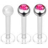 2pc 16g Bioplast Labret Stud Earrings 3mm Rose Gem Tragus Piercing Jewelry 8mm + Clear Retainer