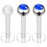 2pc 16g Bioplast Labret Stud Earrings 3mm Sapphire CZ Tragus Piercing Jewelry 8mm + Clear Retainer