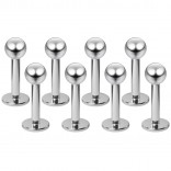 8pcs Bulk 16g Stainless Steel Labret Studs 3mm Ball Lip Rings Piercing Jewelry Monroe Tragus 6mm