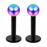 2pc 16g Surgical Steel Labret 3mm Rainbow Ball Lip Rings Tragus Earring Studs Piercing Jewelry 6mm