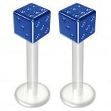 2pc 14g Bioflex Labret Blue 14 Gauge 10mm 3/8 Bioplast Cute Dice Monroe Piercing Jewelry Lip Studs