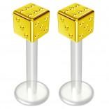 2pc 14g Bioflex Labret Gold 14 Gauge 10mm 3/8 Bioplast Cute Dice Monroe Piercing Jewelry Lip Studs