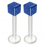 2pc 14g Bioflex Labret Blue 14 Gauge 12mm 1/2 Bioplast Cute Dice Monroe Piercing Jewelry Lip Studs