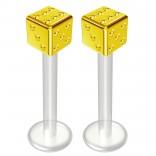 2pc 14g Bioflex Labret Gold 14 Gauge 12mm 1/2 Bioplast Cute Dice Monroe Piercing Jewelry Lip Studs