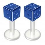 2pc 14g Bioflex Labret Blue 14 Gauge 6mm 1/4 Bioplast Cute Dice Monroe Piercing Jewelry Lip Studs