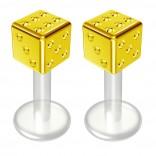 2pc 14g Bioflex Labret Gold 14 Gauge 6mm 1/4 Bioplast Cute Dice Monroe Piercing Jewelry Lip Studs