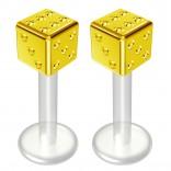 2pc 14g Bioflex Labret Gold 14 Gauge 8mm 5/14 Bioplast Cute Dice Monroe Piercing Jewelry Lip Studs