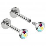 2pcs 16g Surgical Steel Labret Monroe Lip Ring 3mm AB Gem Tragus Earring Stud Piercing Jewelry 8mm