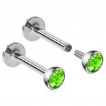 2pcs 16g Surgical Steel Labret Monroe Lip Ring 3mm Green CZ Tragus Earring Stud Piercing Jewelry 8mm