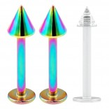 2pcs 16g Stainless Steel Labret Rainbow Lip Rings Earrings 3mm Spike Studs + Retainer (6mm 8mm 10mm)