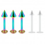 3pc 16g Stainless Steel Labret Rainbow Lip Rings 3mm Spike + 2pc Clear Retainer (6mm 8mm 10mm)
