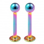 2pcs 16g Surgical Steel Labret Rainbow Lip Rings Anti Tragus Helix Earrings Stud Piercing Jewelry