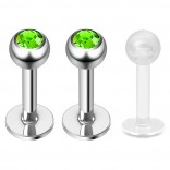 2pc 16g Surgical Steel Labret Monroe Lip Ring Tragus Helix Earring Stud Piercing Jewelry 6mm Jet