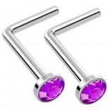 2pc L Shaped Nose Ring 18g 1mm 7mm Flesh Nostril Screw Nose Ring Crystal Hypoallergenic 316LVM Surgical Steel Stud Piercing Jewelry Amethyst