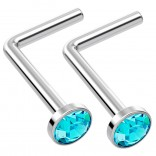2pc L Shaped Nose Ring 18g 1mm 7mm Flesh Nostril Screw Nose Ring Crystal Hypoallergenic 316LVM Surgical Steel Stud Piercing Jewelry Aquamarine