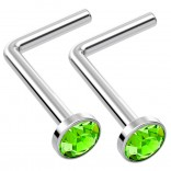 2pc L Shaped Nose Ring 18g 1mm 7mm Flesh Nostril Screw Nose Ring Crystal Hypoallergenic 316LVM Surgical Steel Stud Piercing Jewelry Peridot