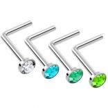 4pc L Shaped Nose Ring 18g 1mm 7mm Flesh Nostril Screw Nose Ring Crystal Hypoallergenic 316LVM Surgical Steel Stud Piercing Jewelry Green