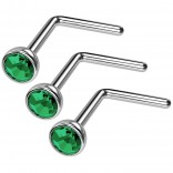 3pc 20g Surgical Stainless Steel L-Shaped Nose Ring Blue Flat Cute Hoop 20 Gauge Stud CZ crystal Gem