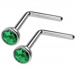 2pc 20g Surgical Stainless Steel L-Shaped Nose Ring Blue Flat Cute Hoop 20 Gauge Stud CZ crystal Gem