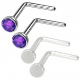 4pc 20g 0.8mm Nose Rings L-Shaped Nose Ring Surgical Steel Flexible Bend Shape Studs Nostril Piercing 2.5mm Amethyst CZ Retainers