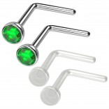 4pc 20g 0.8mm Nose Rings L-Shaped Nose Ring Surgical Steel Flexible Bend Shape Studs Nostril Piercing 2.5mm Emerald Crystal Retainers