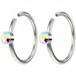 2pc 20g Crystal Nose Clips 8mm Hoop Ring Hypoallergenic Stainless Steel AB Aurora Borealis
