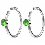 2pc 20g Crystal Fake Nose Clips 8mm Hoop Ring Hypoallergenic Stainless Steel CZ Peridot