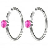 2pc 20g Crystal Fake Nose Clips 8mm Hoop Ring Hypoallergenic Stainless Steel Rose Pink CZ