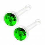 2pc 20g Bioflex Nose Bone Bioplast 1mm Micro Flat Flexible Bendable Straight Nostril CZ Peridot