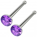 2pc 18g Straight CZ Nose Bone Studs Crystal Amethyst Nostril Straight Pin Stud Piercing