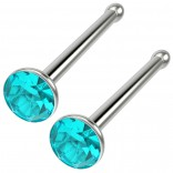 2pc 18g Straight CZ Nose Bone Studs Crystal Aquamarine Nostril Straight Pin Stud Piercing