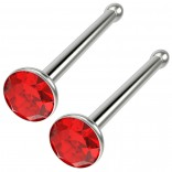 2pc 18g Straight CZ Nose Bone Studs Crystal Light Siam Red Straight Pin Stud Piercing Ring