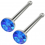 2pc 18g Straight CZ Nose Bone Studs Crystal Sapphire Blue Straight Pin Stud Piercing Rings