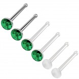 6pc 18g 1mm Nose Stud Bone Straight Bar Nostril Ring Surgical Steel 2.5mm Crystal and 20g Blue Bioflex Stud 0.8mm Retainer