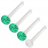 4pc 20g 0.8mm Nose Studs Bone Straight Bar Nostril Ring Surgical Steel 2.5mm Crystal CZ Emerald Bioflex Stud Retainer