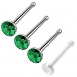 3pc 20g Nose Bone Stainless Steel Rings 1mm crystal Aqua Straight Pin Micro Stud Bioflex Retainer