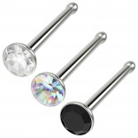 3pc 20g Nose Bone Flat Stainless Steel Rings 1mm Crystal CZ AB Jet Micro Stud Straight Pin
