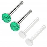 4pc 18g 1mm Nose Stud Bone Straight Bar Nostril Ring Surgical Steel 2.5mm Crystal CZ Emerald Bioflex Stud 20g 0.8mm Retainer